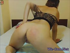 Pigtail camgirl masturbates toys for money on webcam