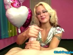 Hot blonde milf with glasses loves to jerk