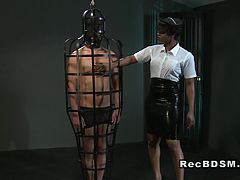 Ebony mistress fucks tied up male slave