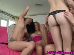 Four smoking hot teens oral and toy fun