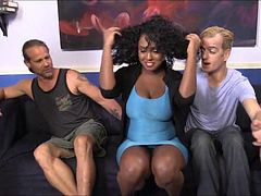 Busty ebony Layton Benton facialed by many big white dicks
