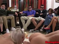 Double ended dildo fun at teen hazing