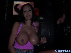 Big titted glory hole skank loves gagging