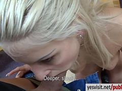 Cute amateur blonde Eurobabe Blanche fucked for cash