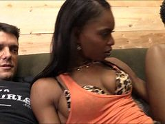 Beautiful black chick Marie Luv sucking while anal fucking
