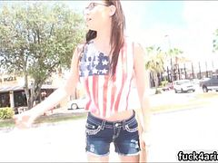 Nerdy teen Tali Dava picked up and pounded by a stranger