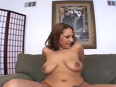 latina gets her perky big tits creamed after egtting fucked