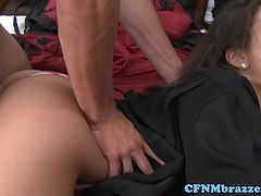 Jynx Maze gobbles cock during CFNM ffm