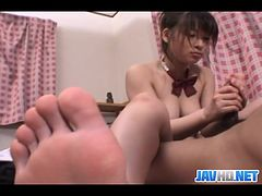 Asian schoolgirl hand stroking
