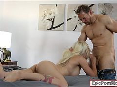 Sexy tattooed blonde babe Stevie Shae banged on the bed