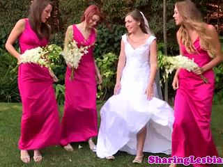 Lesbian bride seduced by her bridesmaids
